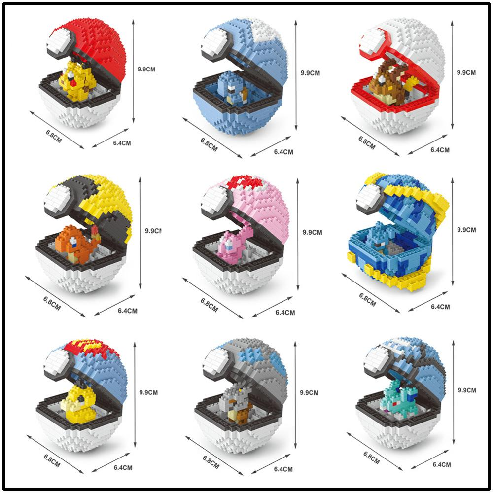 Image 2 - Mini Building Blocks Pokeballs Mini Brick 3D Cartoon Character Model Educational Games Toys for Children Compatible with Legoe-in Blocks from Toys & Hobbies