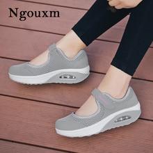 Ngouxm Summer Women Flats Casual Mesh Fabric Hollow Hook & Loop Comfort Shallow Air Cushion Sole Mary Jane Platform Shoes Lady