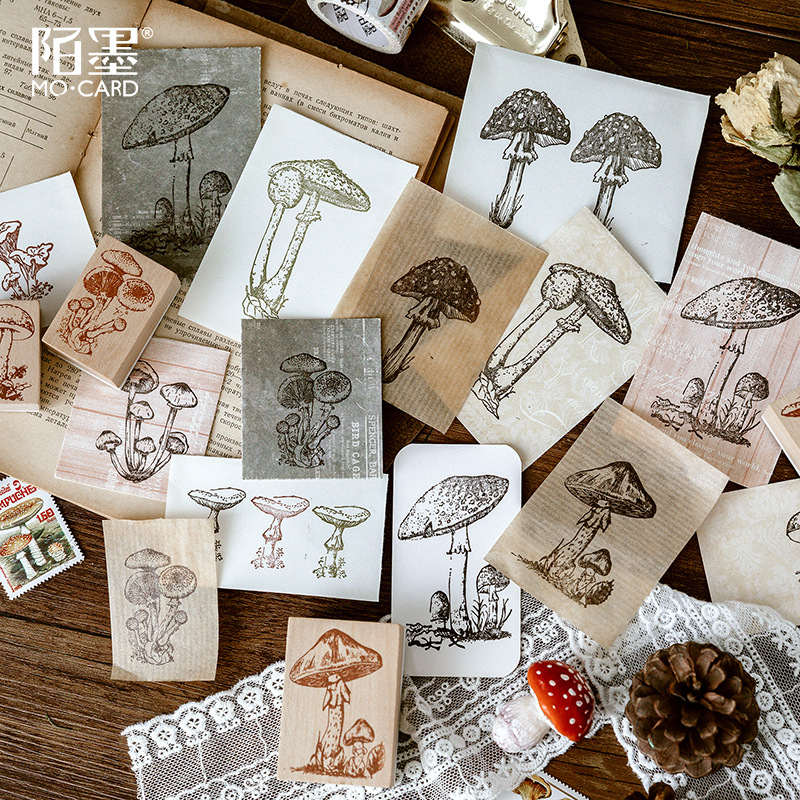 Cute Mushroom Collection Series Decoration Stamp Wooden Rubber Stamps For Scrapbooking Stationery DIY Craft Standard Stamp