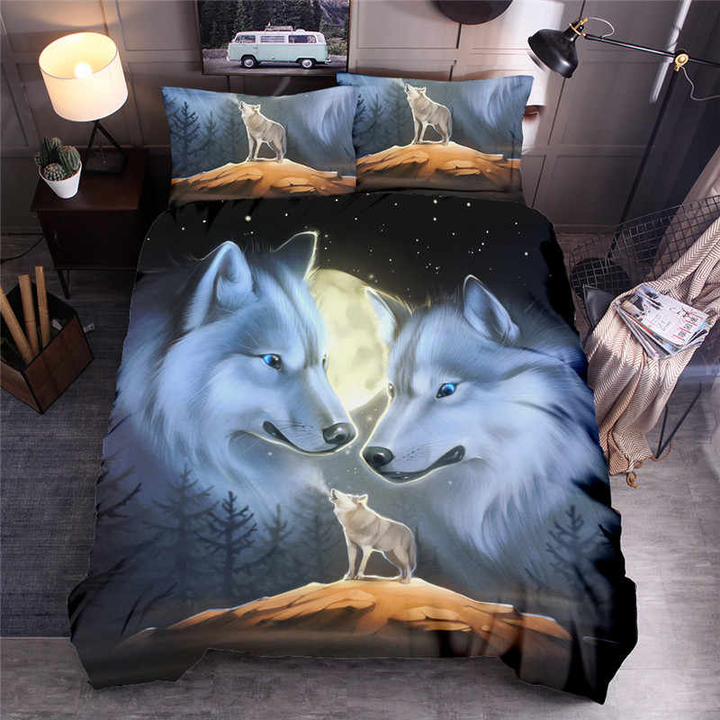 Wolf Printed Bedding Set  Lion Animal Duvet Cover Sets Queen King Quilt Cover Bed Linen