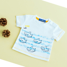 Baby Boy Short Sleeve t-shirts Cartoon Bebe Top Baby Shark Printed Baby Tee Kids Clothes Fashion Cotton White Clothes 1-6 Months