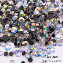 Mix Size Crystal AB 720pcs/lot  HotFix FlatBack Rhinestones  DMC trim strass DIY iron heat glass Hot Fix crystal stones glitter mixed sizes white crystal ab hotfix strass rhinestones round flatback imitation iron on glass crystals and stones diy