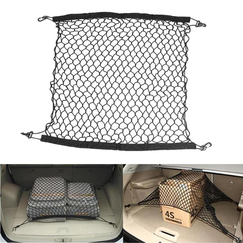 Konesky Car Mesh Storage Net Trunk Mesh Storage Bag Rear Cargo Organizer Backseat Mesh Pockets