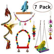 7PCS Bird Swing Chewing Toys, Parrot Hammock Bell Toys parrot toys bird toys swing bell funkadelic funkadelic toys