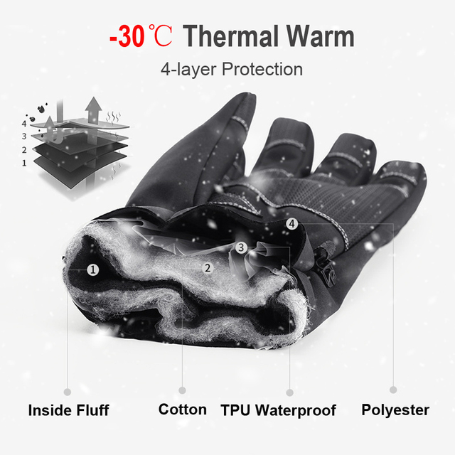 Перчатки ветрозащитные спортивные лыжные перчатки для велосипеда скутера мотоцикла теплые перчатки 2