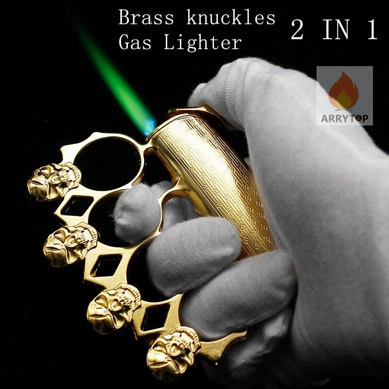 Brass Knuckles  Lighter  Multi-function  Windproof  Self-defense Lighter 2 In 1  Butane Fuel GL013