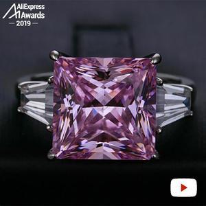 Image 3 - 12*12 ミリメートルプリンセスカットダイヤモンドリングS925 スターリングシルバー罰金結婚式のシトリンサファイアアメジストルビー色のダイヤモンド