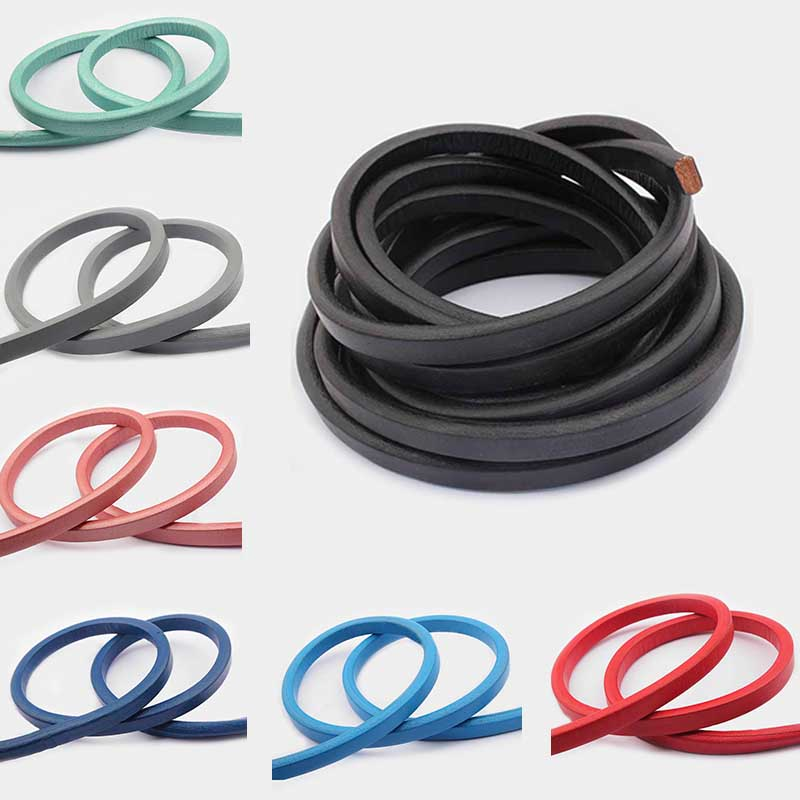 25cm Genuine Leather Stripe 10*6mm Real Licorice Leather Cords Supplies Wire Cord DIY Bracelet Jewelry Finding Accessories