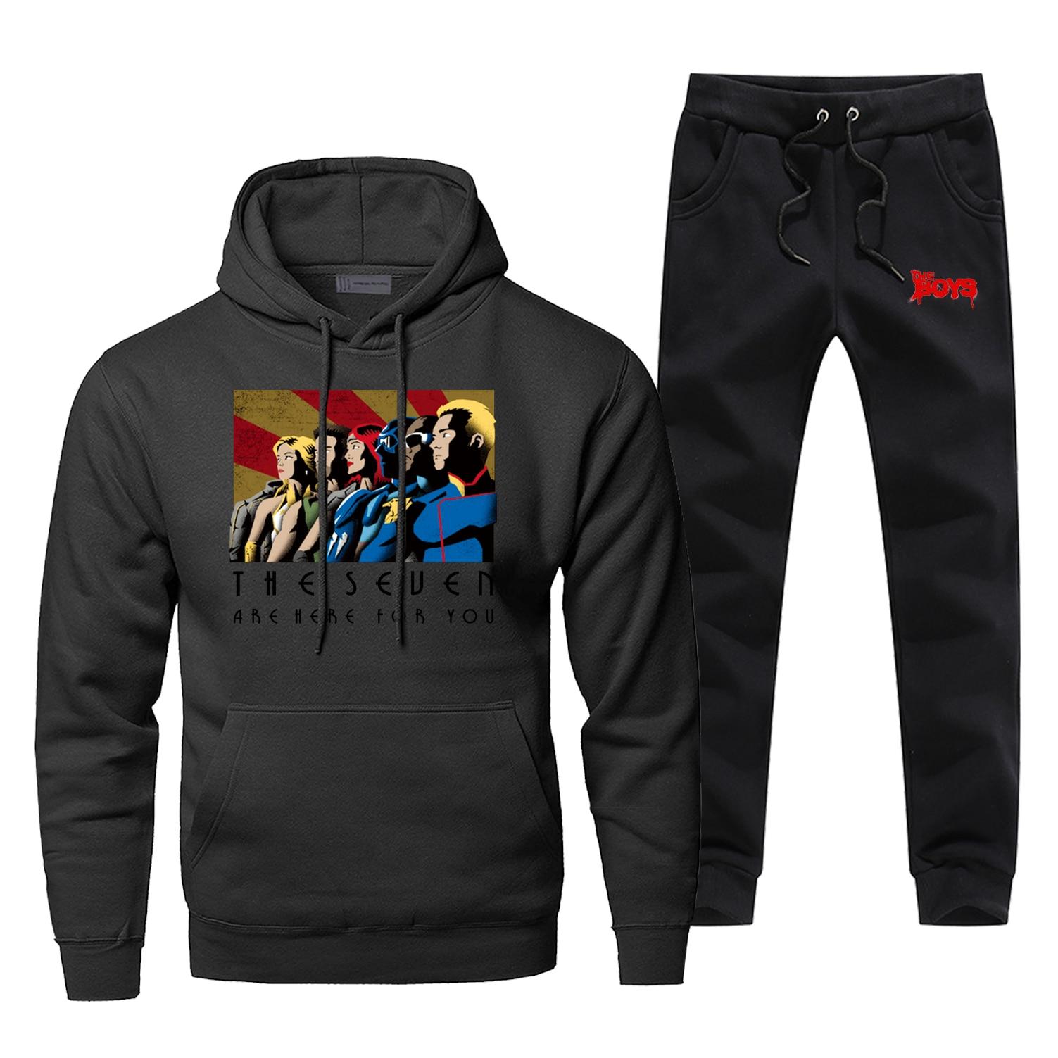 Hoodie Pants Set The Boys Men Sweatshirt Male Hoodies Sweatshirts Super Hero Mens Sets Two Piece Pant Pullover Hoody Friend Coat