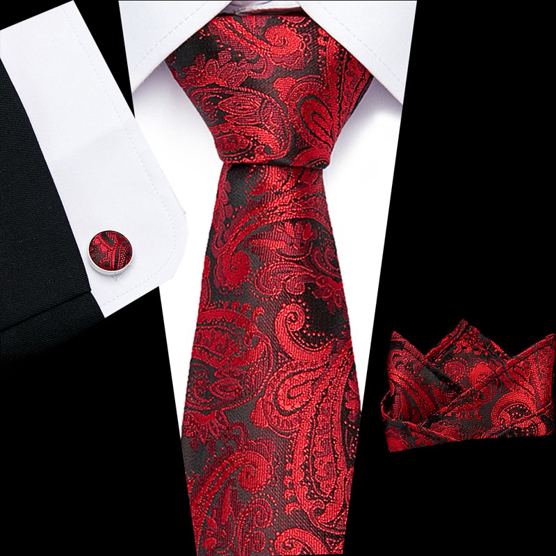 Classic Luxury 8cmRed Print Mens Tie100% Silk  Jacquard Woven Extra Long Tie Hanky Cufflink Set For Men Formal Wedding Party