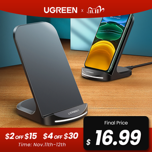 Image 1 - Ugreen Qi Wireless Charger Stand for iPhone 12 Pro X XS 8 XR Samsung S9 S10 S8 S10E Fast Wireless Charging Station Phone Charger