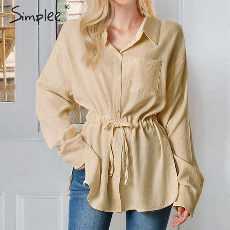 Simplee Casual Plus Size Women Blouse Shirt High Waist Lace Up Female Shirts Pockets Autumn Winter Ladies Cotton Blouses Tops