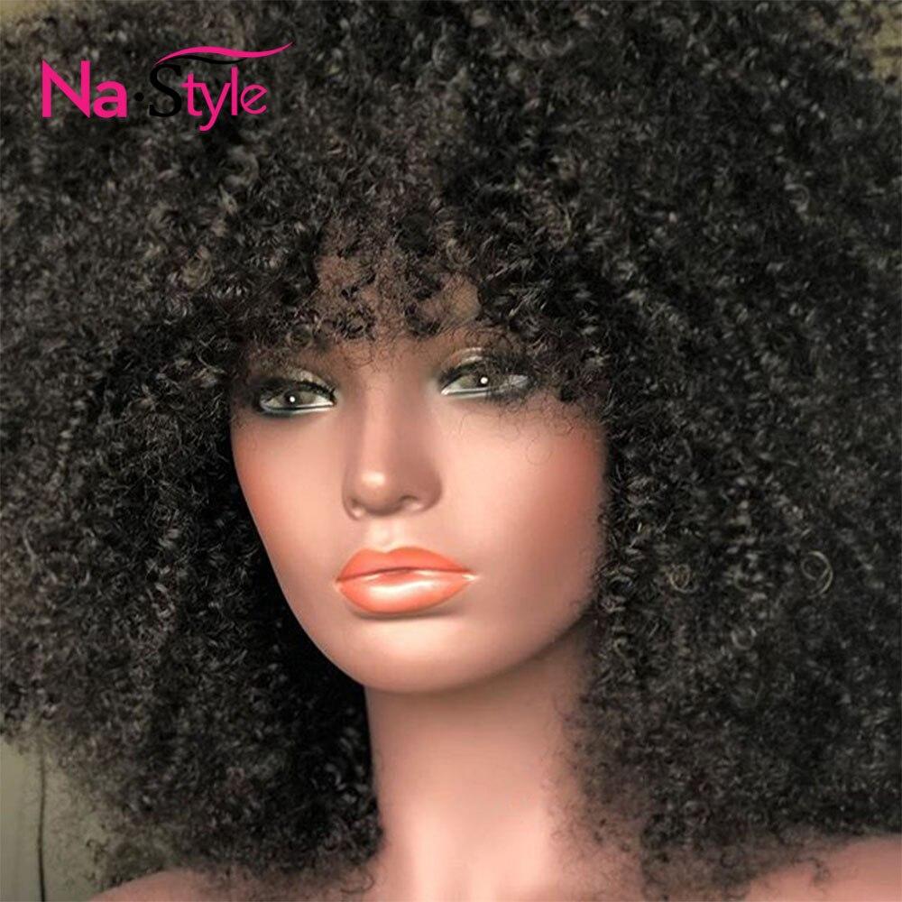 Афро кудрявый парик с челкой глубокая часть 13х6 кружева фронта человеческих волос парики для черных женщин короткие парики из человеческих ... - 3