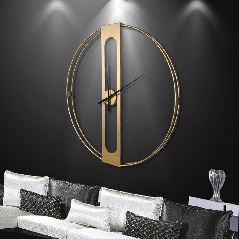 Grande horloge murale en métal de luxe Design moderne nordique Simple 3D décoration suspendue montre grandes horloges murales décor à la maison 70 cm - 2