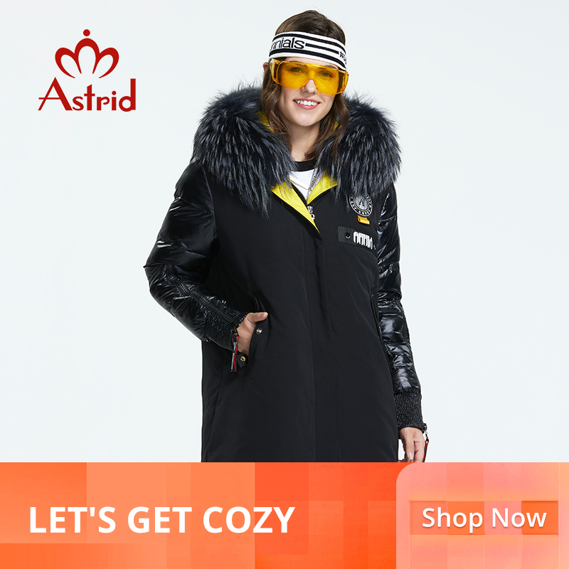 Astrid 2019 Winter new arrival women down jacket with a fur collar fashion style with a hood long winter coat women AR-3022