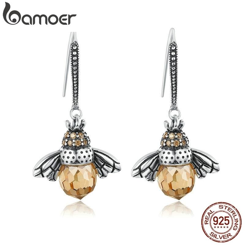 BAMOER Hot Sale Genuine 925 Sterling Silver Lovely Orange Bee Animal Drop Earrings for Women Fine Jewelry Gift Bijoux SCE149