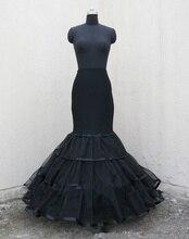 Neue Ankunft Schwarz Meerjungfrau Hochzeit Kleid Petticoat Krinoline Voll Slip