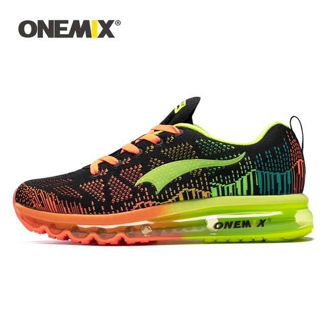 ONEMIX Chaussures de Course pour Hommes Léger Coussin d'air Cushion Outdoor Sport Trainer Sneaker Noir 47 EU