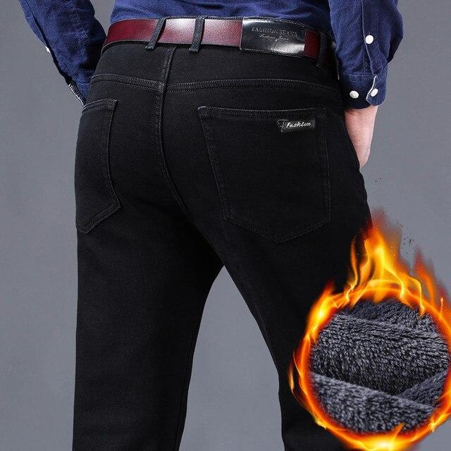 2019冬の新メンズ暖かい黒ジーンズクラシックスタイルビジネスファッションスリムフィットストレッチデニムズボン男性ブランド厚いパンツ