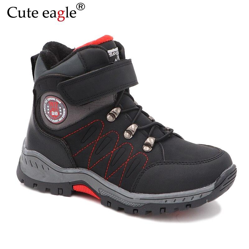 bonito aguia meninos inverno caminhadas botas criancas pelucia manter quente sapatos de algodao criancas esporte botas