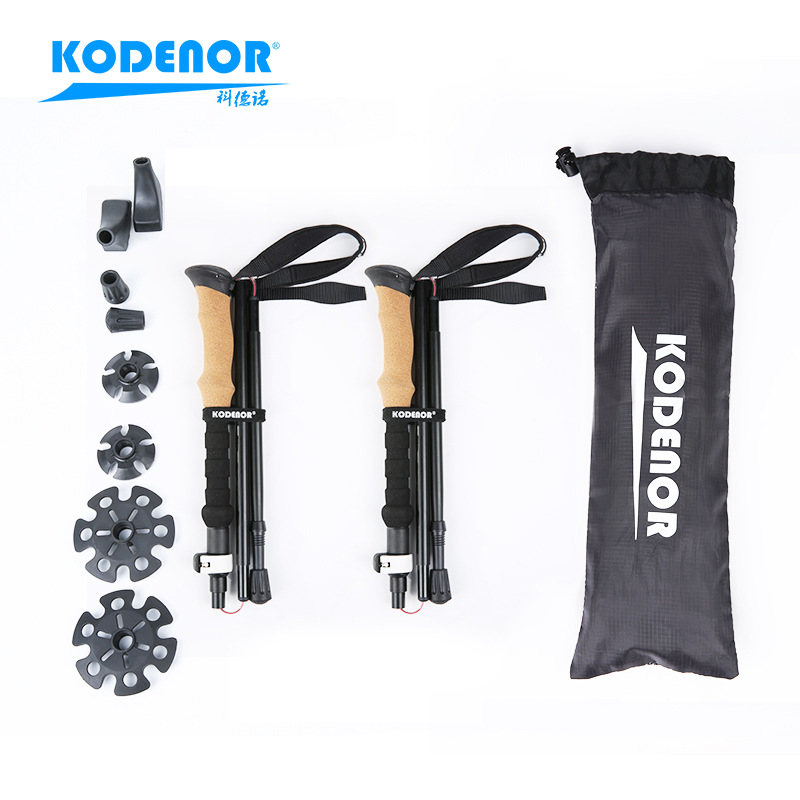 Section Denau Outdoor KDN-004 Aluminium Alloy Five Sections Folding Alpenstock External Lock Extra Short Light Telescopic Walkin