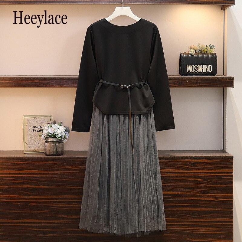 Plus Size Women Two Piece Set Autumn 2019 Fashion Long Sleeve Asymmetrical Dress And Elastic Waist Pleated Mesh Skirts Xl-5xl