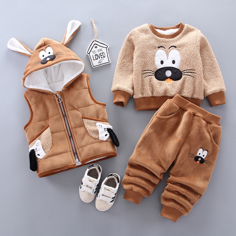 0-4 years old winter new baby boy clothes warm clothes baby girl cartoon plus velvet thick hooded sweater three-piece baby suit