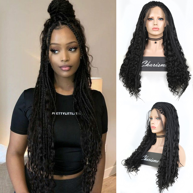 Charisma Long Braided Wigs For Black Women Synthetic Lace Front Wig With Baby Hair Box Braids Natural Free Part Cosplay Wig