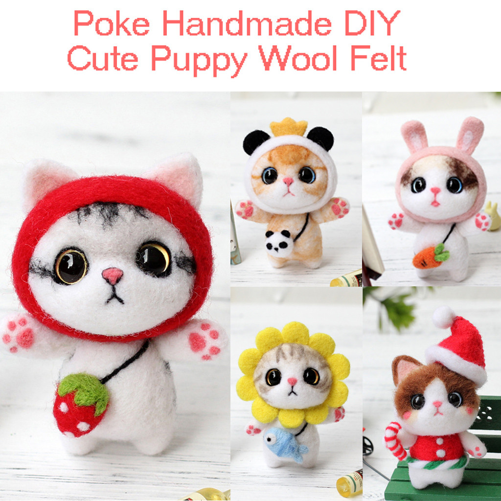 Cute Cat Pattern Handmade DIY Poke Wool Felts Material Production Package At Home Cute DIY Toy For Kids Women Girls Sweet Gift