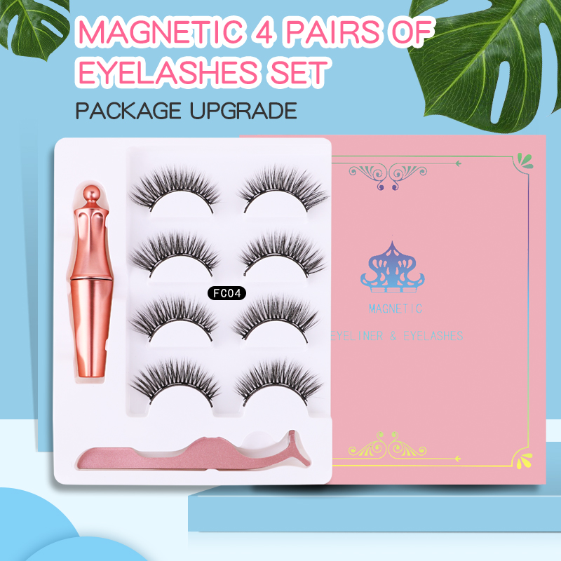 5 magnets 4 pairs of <font><b>magnetic</b></font> <font><b>eyelash</b></font> makeup <font><b>magnetic</b></font> <font><b>eyeliner</b></font> tweezers <font><b>set</b></font> durable waterproof reusable false <font><b>eyelash</b></font> <font><b>set</b></font> image