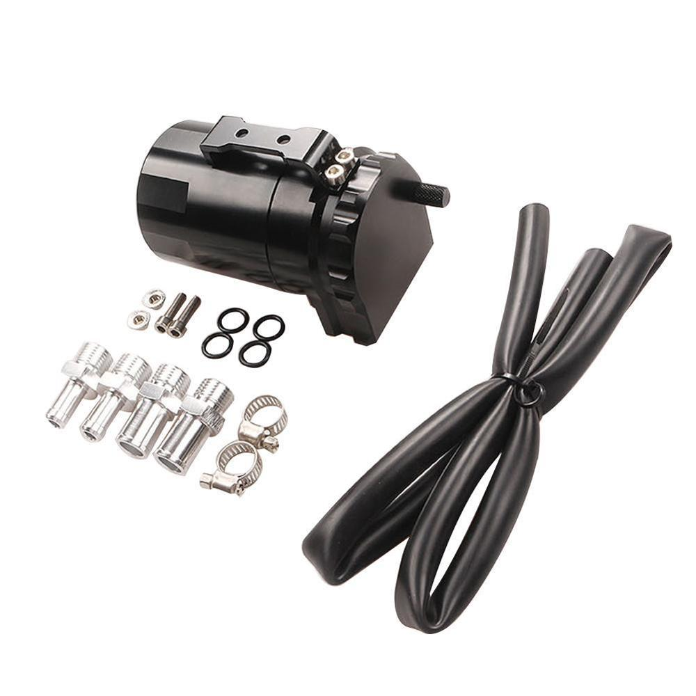 Black Baffled Aluminum Oil Catch Tank Can Reservoir Tank with 9mm//15mm Fittings