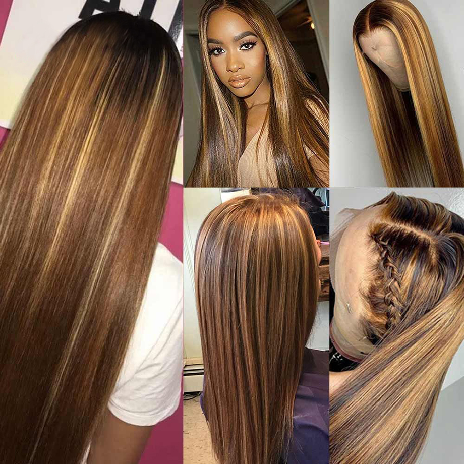 Brown Ombre Bone Straight Lace Front Wig  Virgin Hair  T Part Hd Highlight Lace Frontal  Wigs 3