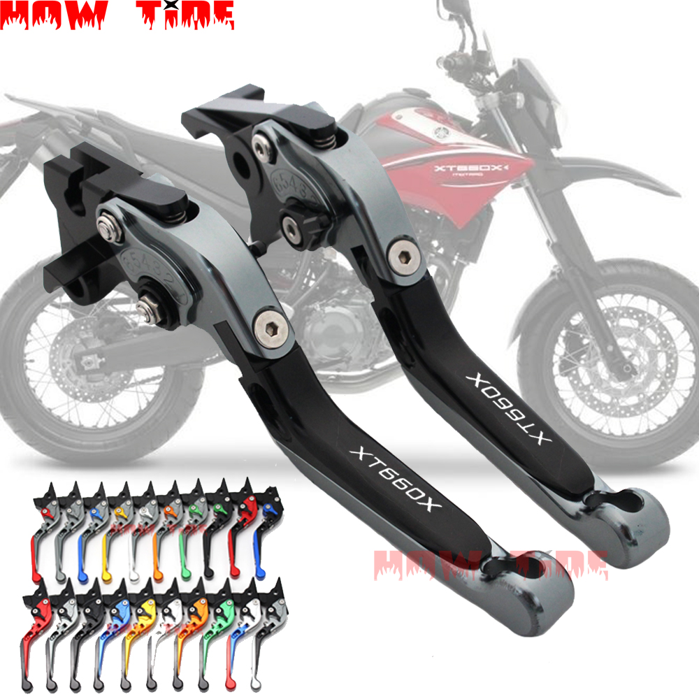 Motorcycle <font><b>parts</b></font> folding telescopic adjustable brake clutch lever CNC for <font><b>YAMAHA</b></font> XT660X XT 660X <font><b>XT660</b></font> 2004-2013 2012 2011 image