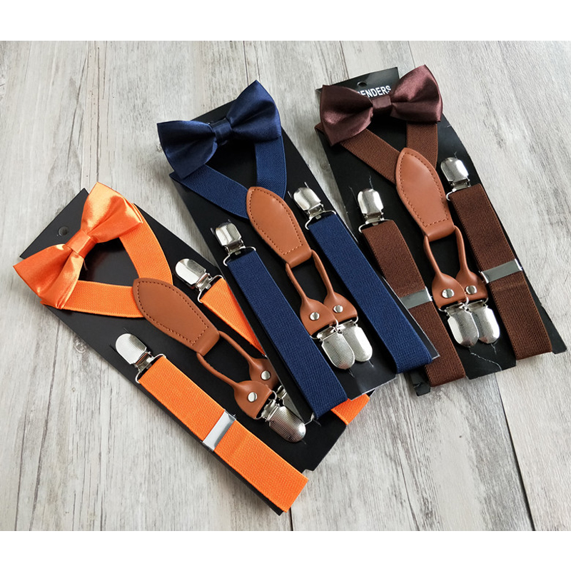 Fashion New Kids Elastic 4 Clips On Suspenders Set High Quality Bowtie Bow Tie  Clothes Accessories For Children Boys Girls