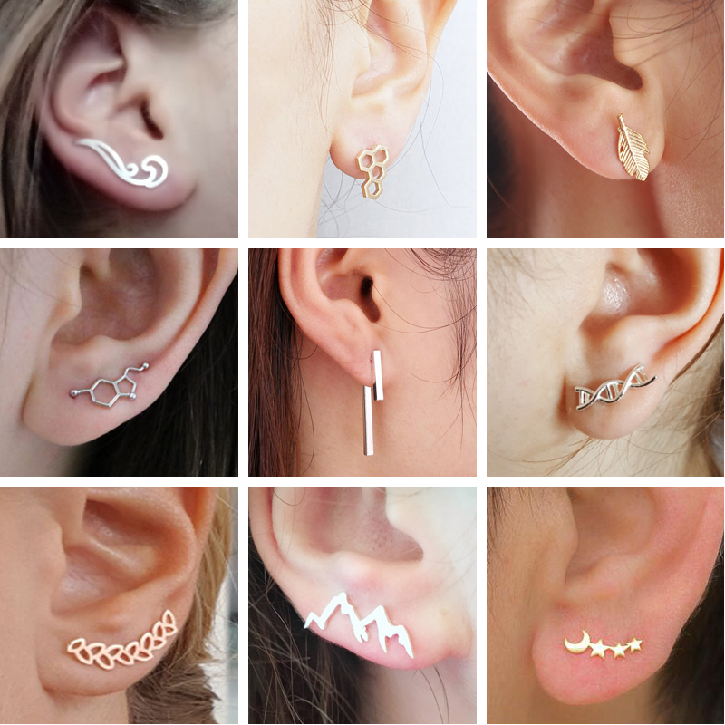Mix Style Minimalist Earring Geometric Stud Earrings Womens Jewellery Wave Mountain Star Leaves Earring Pendientes image