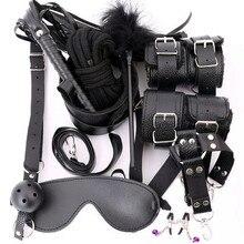 10 Stks/set Sex Producten Erotische Speeltjes Voor Volwassenen Bdsm Sex Bondage Set Handboeien Tepelklemmen Gag Zweep Touw Sex Toys voor Koppels