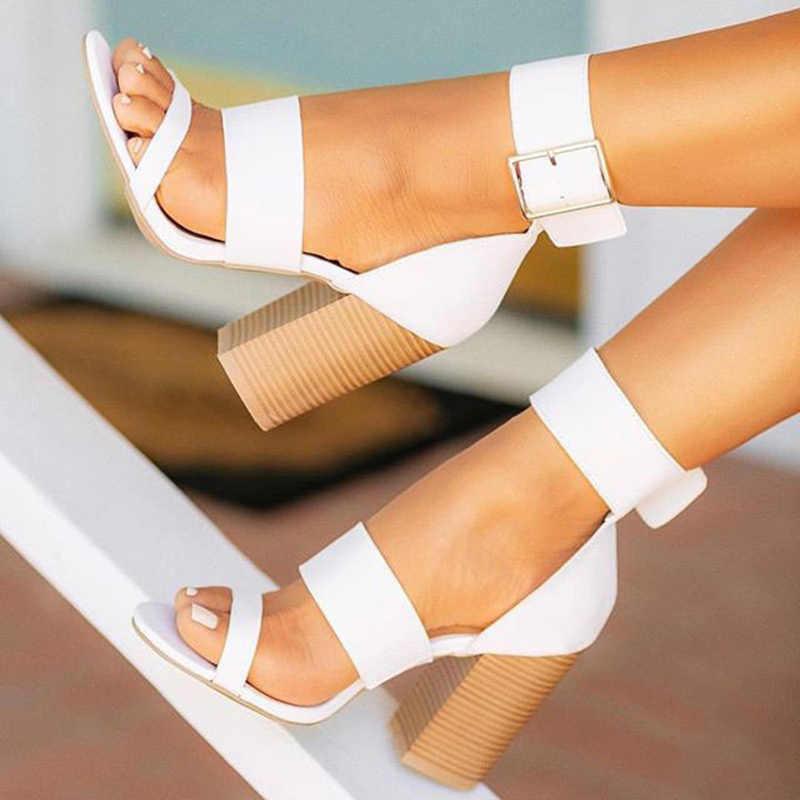 NOVEDAD DE VERANO 2020, Sandalias de tacón alto grueso, sandalias de hebilla de tobillo para mujer, cómodas sandalias informales para mujer, zapatos de fiesta para mujer DR1162