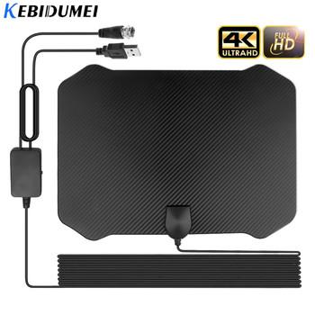 Kebidu 4K 1080P cyfrowy HDTV kryty TV wzmacniacz sygnału anteny dla promień TV Surf Fox Antena 60-130 mil HD TV anteny Antena tanie i dobre opinie kebidumei TV Antenna Indoor VHF (170-240Mhz) UHF( 470-860Mhz)