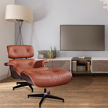 Home Furniture Armchair with Ottoman Brown Chaise Classic Lounge Chair Leather Accent Chair Living Room Furniture mid century modern style armchair sofa chair legs wooden linen upholstery living room furniture bedroom arm chair accent chair