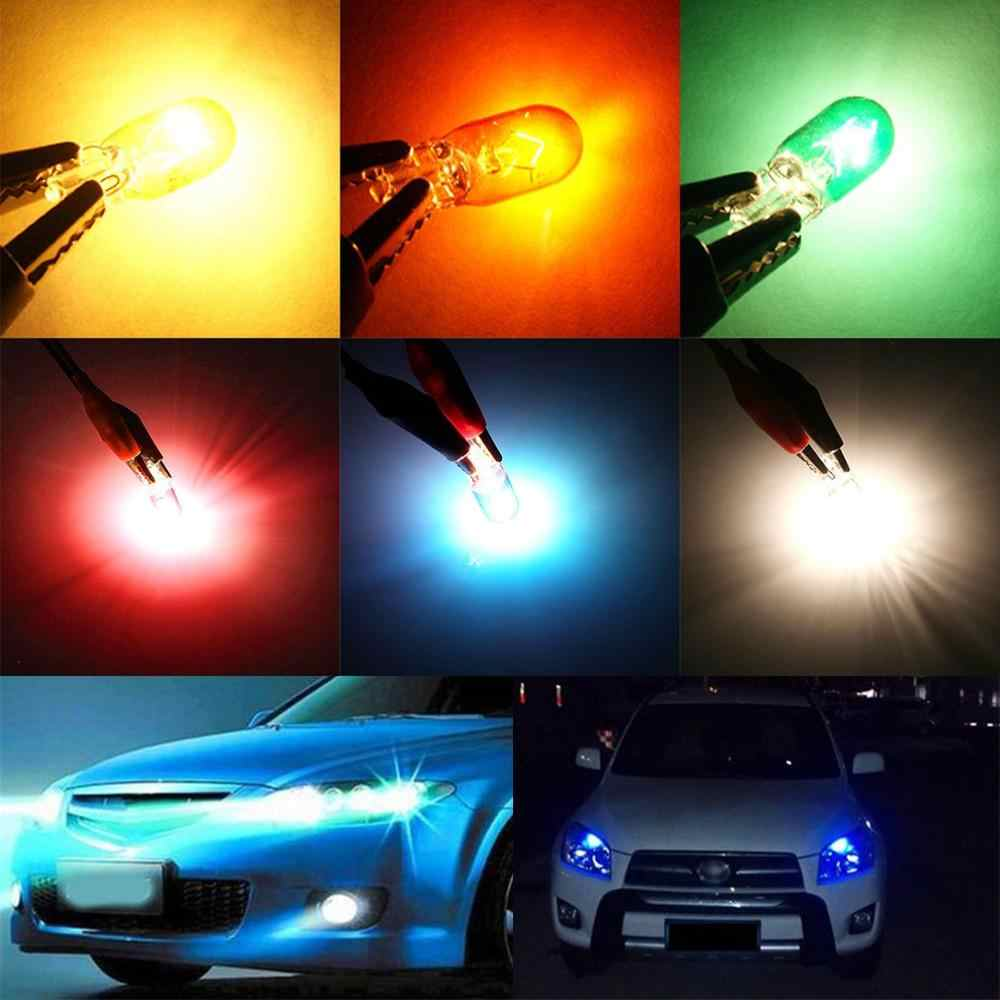 T10 Lebar Lampu Lampu Halogen Kaca Biasa W5W Penggantian 5W Cahaya Putih Kuning Hijau Muda Cahaya Amber Biru Muda lampu Merah