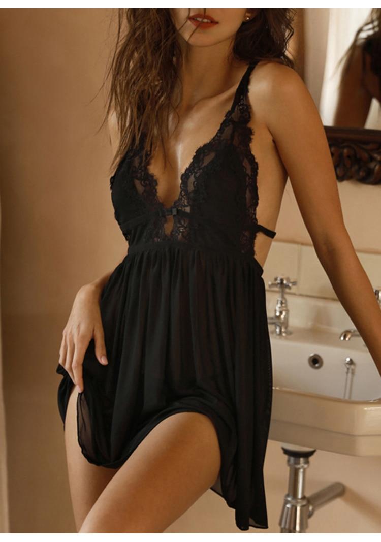 CINOON Summer Womens Sleepwear V-Neck Sexy Nightdress Casual Nightgown Comfortable Lace Pajama Solid Color Bifurcation Nightwear (6)