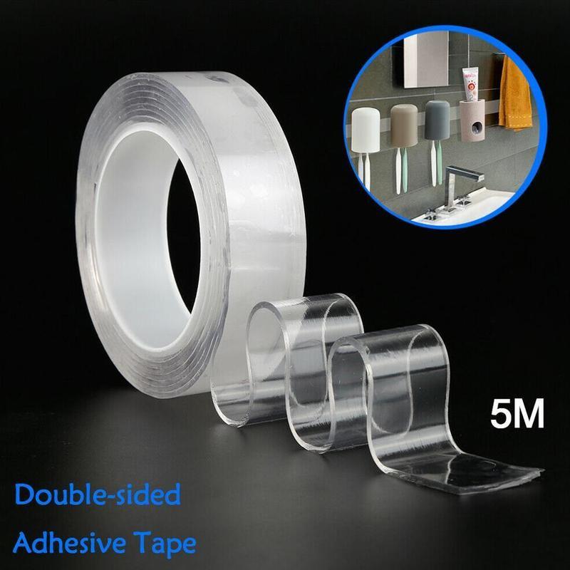5 m não-marcação nano fita dupla face lavável reutilização nano fita mágica transparente nenhum traço adesivo impermeável claro