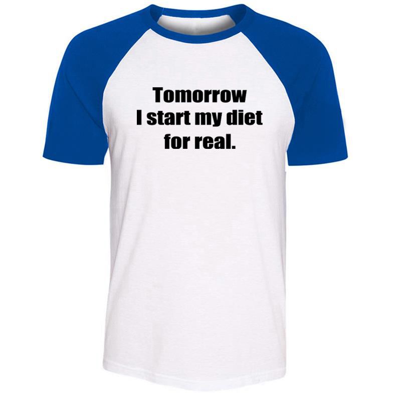 Tomorrow I Start My Diet for Real RUNNING IS MY HAPPY HOUR Mens Guys Printing T Shirt Graphic Tee Short Sleeve Cotton Tshirts image