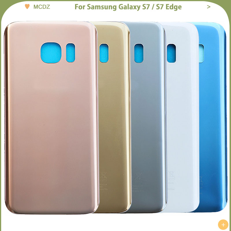 10 PCS New S7 Battery Cover For Samsung Galaxy S7 G930F / S7 Edge G935F Back Cover Door Rear Cover Glass Housing Case image