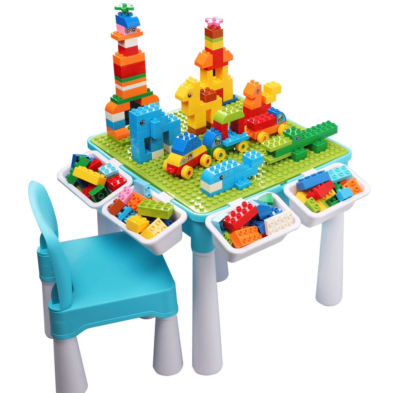 BURGKIDZ Classic DIY Table With 128 Pcs Building Blocks Compatible With LegoED DuploED Learning Toys For Children Christmas Gift