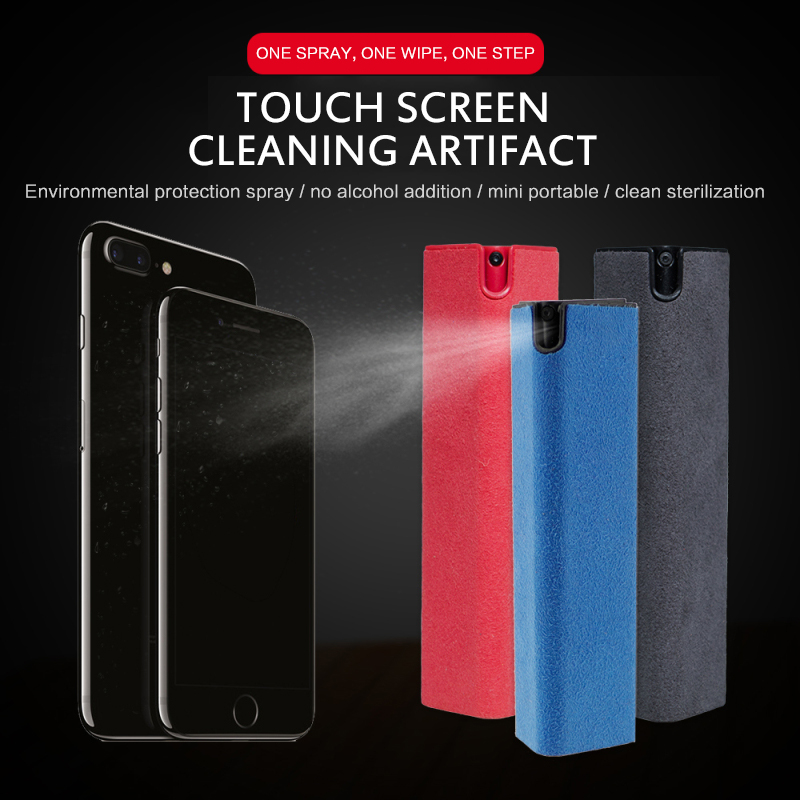 Portable Mobile Phone  Computer Tablet PC Screen Cleaning Artifact Storage Mobile Phone Portable Screen Cleaner Kit Spray Square