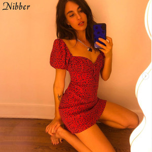 Nibber kpop slim dresses for woman 2020 summer aesthetic hot printing streetwear mujer casual party club wear red mini dresses