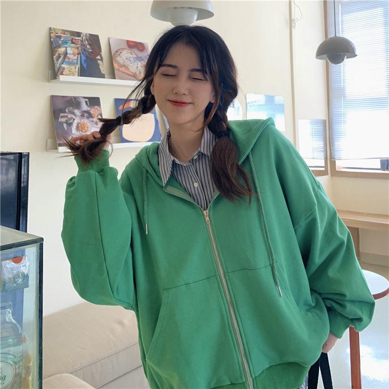 Summer 2021 Fashion Zip Up Cute Bear Sweetshirt Vintage Long Sleeve Spring Clothes Women Hoodies Coat Loose Harajuku Tops 10