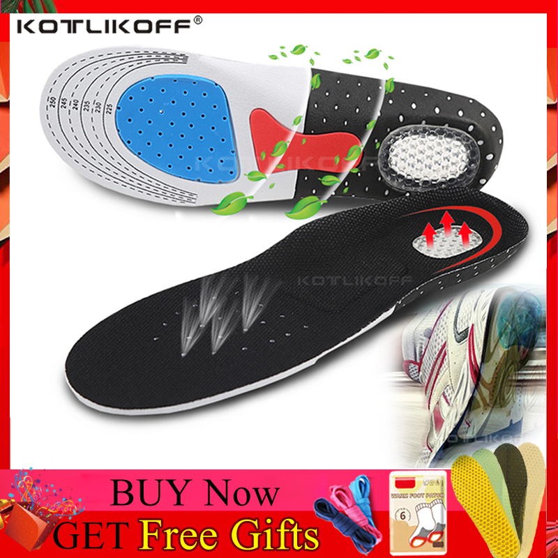 KOTLIKOFF Silicone Gel Shoe Insoles Orthotic Arch Support Sport Shoe Pad Soft Running Insoles Insert Cushion Men Women Free Size