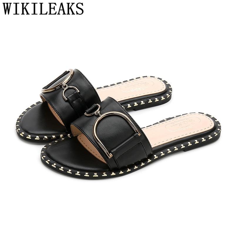 Leather Slippers Women Luxury Slippers